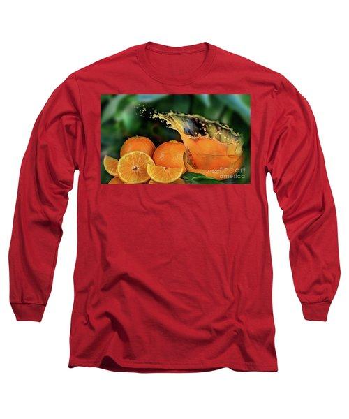 Orange Splash Long Sleeve T-Shirt by Shirley Mangini