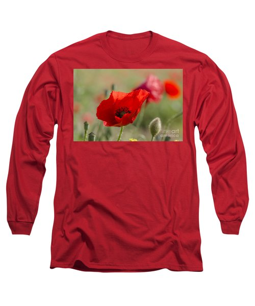 Poppies In Field In Spring Long Sleeve T-Shirt