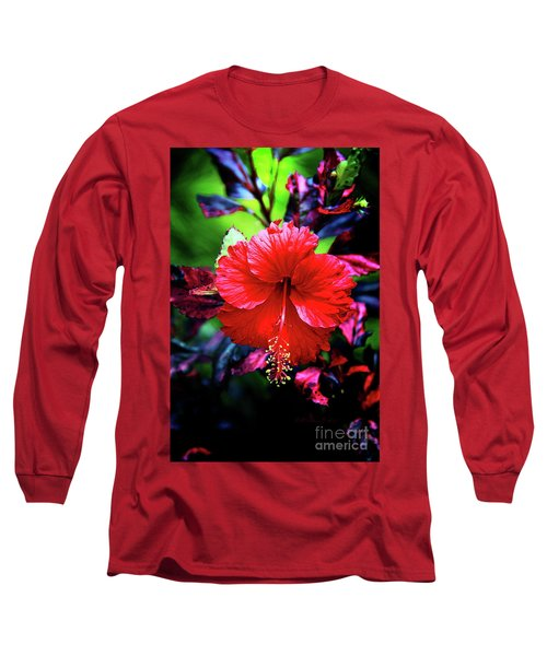 Red Hibiscus 2 Long Sleeve T-Shirt