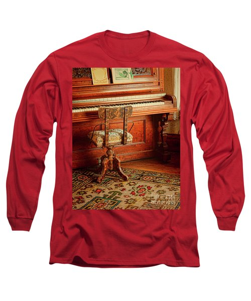 Long Sleeve T-Shirt featuring the photograph Vintage Piano by Jill Battaglia