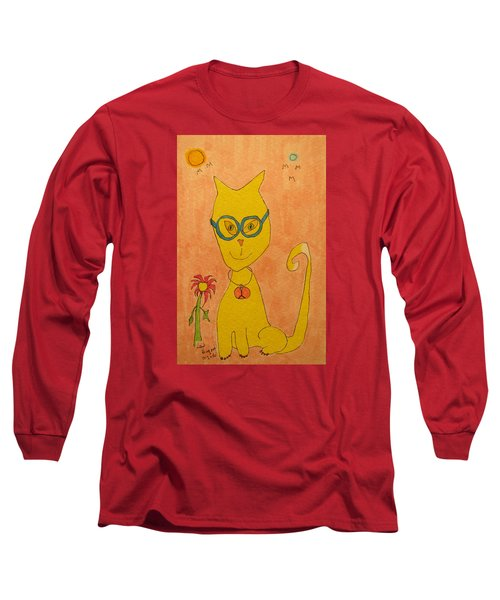 Yellow Cat With Glasses Long Sleeve T-Shirt