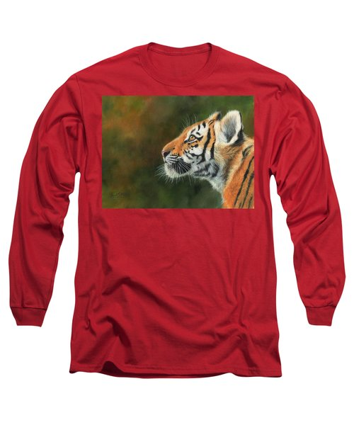 Long Sleeve T-Shirt featuring the painting Young Amur Tiger  by David Stribbling