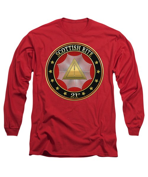 21st Degree - Noachite Or Prussian Knight Jewel On Red Leather Long Sleeve T-Shirt by Serge Averbukh