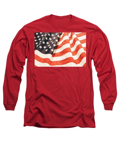 Long Sleeve T-Shirt featuring the photograph American Flag by Les Cunliffe
