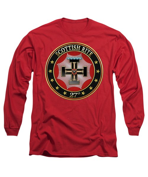 27th Degree - Knight Of The Sun Or Prince Adept Jewel On Red Leather Long Sleeve T-Shirt by Serge Averbukh