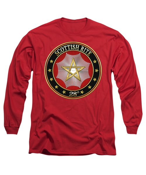 28th Degree - Knight Commander Of The Temple Jewel On Red Leather Long Sleeve T-Shirt by Serge Averbukh