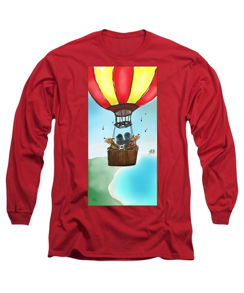 3 Dogs Singing In A Hot Air Balloon Long Sleeve T-Shirt