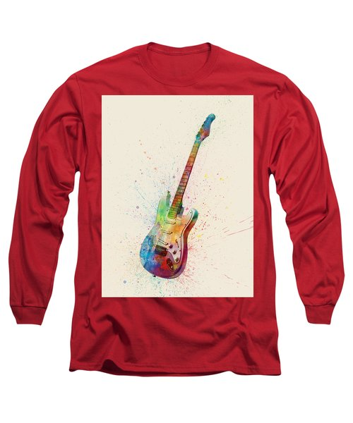 Electric Guitar Abstract Watercolor Long Sleeve T-Shirt