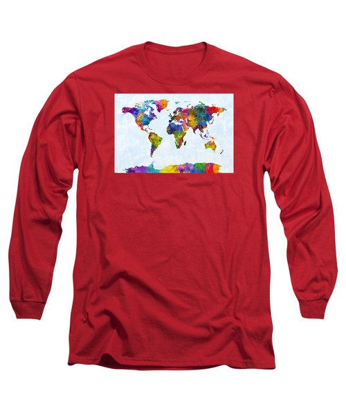 Watercolor Map Of The World Map Long Sleeve T-Shirt by Michael Tompsett