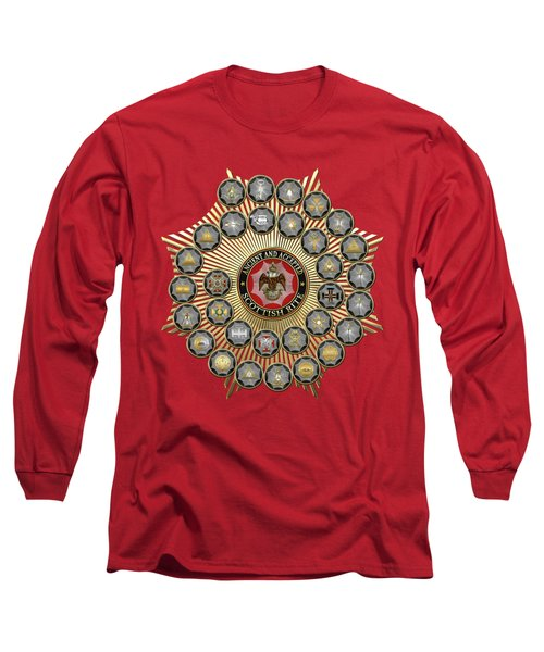 33 Scottish Rite Degrees On Red Leather Long Sleeve T-Shirt