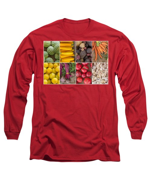 Fruit And Vegetable Collage Long Sleeve T-Shirt