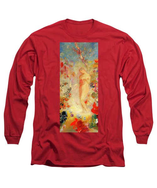 Long Sleeve T-Shirt featuring the painting Pandora by Odilon Redon