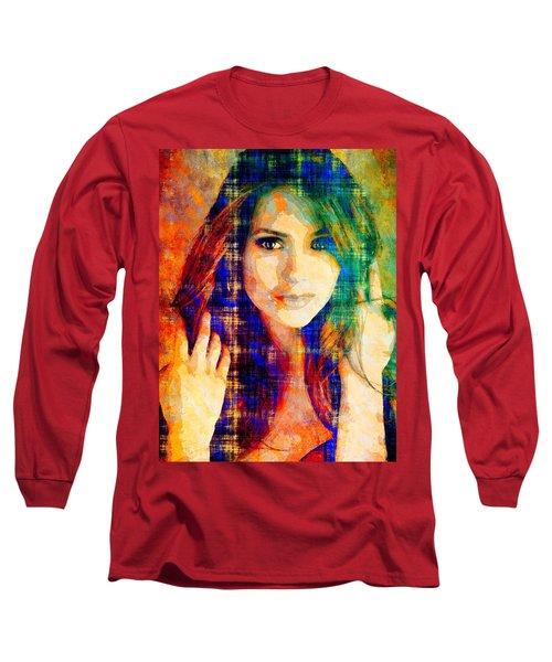 Long Sleeve T-Shirt featuring the mixed media Nina Dobrev by Svelby Art