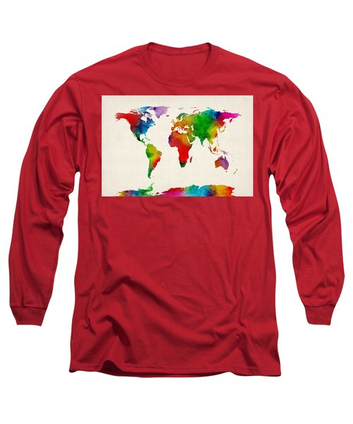 Long Sleeve T-Shirt featuring the digital art Watercolor Map Of The World Map by Michael Tompsett