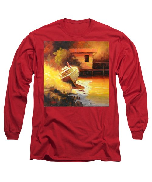 A Boat In A Sunny Day Long Sleeve T-Shirt