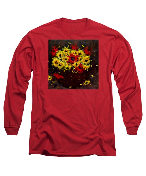 Long Sleeve T-Shirt featuring the painting A Bunch Of Happiness.. by Cristina Mihailescu