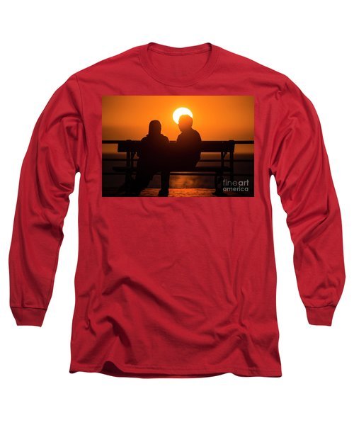 A Couple Sitting At Sunset Long Sleeve T-Shirt