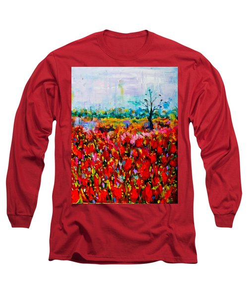 A Field Of Flowers # 2 Long Sleeve T-Shirt by Maxim Komissarchik