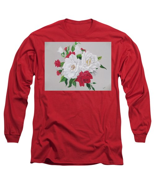 Long Sleeve T-Shirt featuring the painting A New Rose Bouquet by Hilda and Jose Garrancho