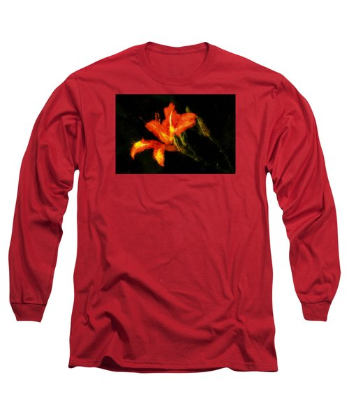 Long Sleeve T-Shirt featuring the digital art A Painted Lily by Cameron Wood