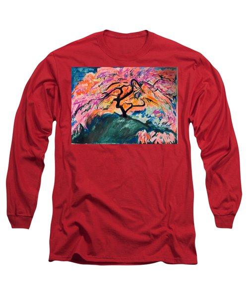 A Splendid Japanese Maple Tree Long Sleeve T-Shirt by Esther Newman-Cohen