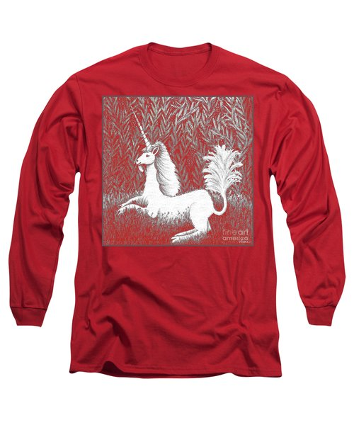 A Unicorn In Moonlight Tapestry Long Sleeve T-Shirt