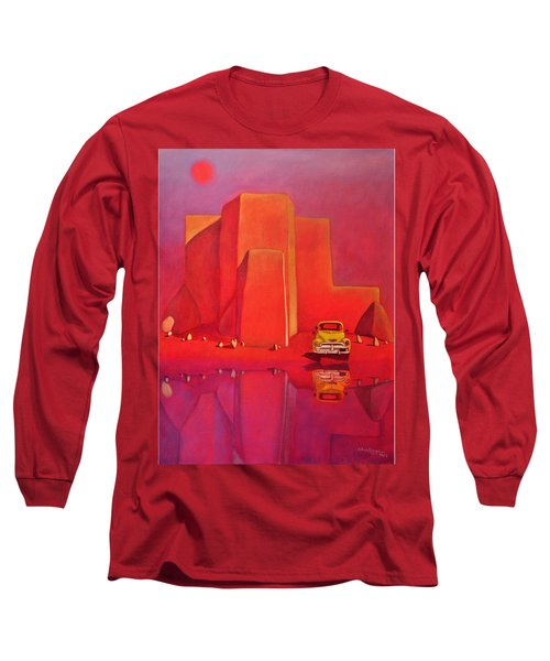 Long Sleeve T-Shirt featuring the painting A Yellow Truck With A Red Moon In Ranchos by Art West