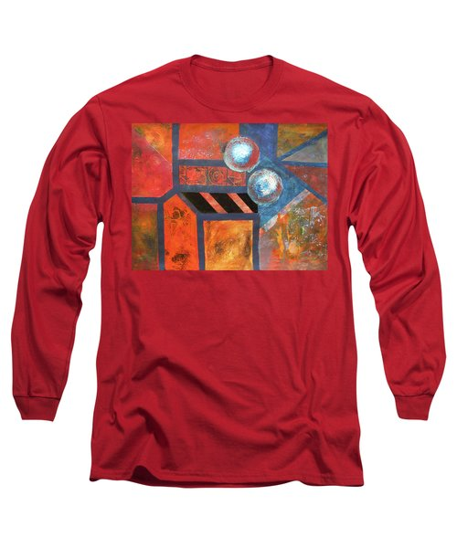 Long Sleeve T-Shirt featuring the mixed media Abstract Autumn by Riana Van Staden