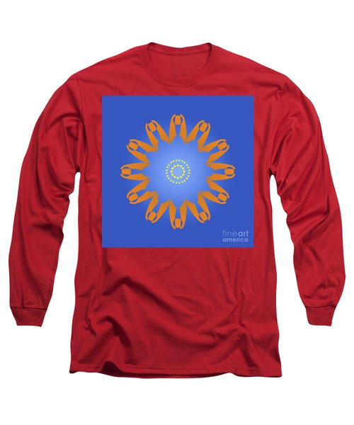 Abstract Blue Square, Orange And Yellow Star Long Sleeve T-Shirt