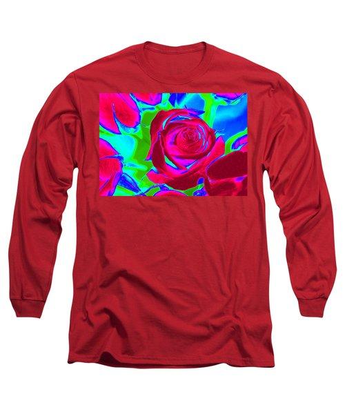Abstract Burgundy Roses Long Sleeve T-Shirt by Karen J Shine
