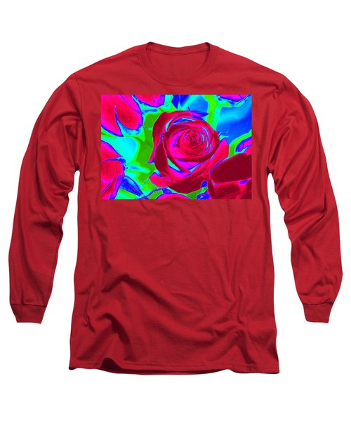 Abstract Burgundy Roses Long Sleeve T-Shirt