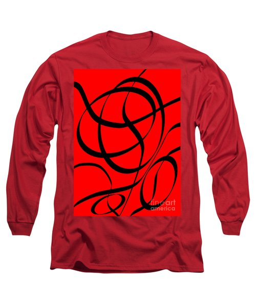 Abstract Design In Red And Black Long Sleeve T-Shirt
