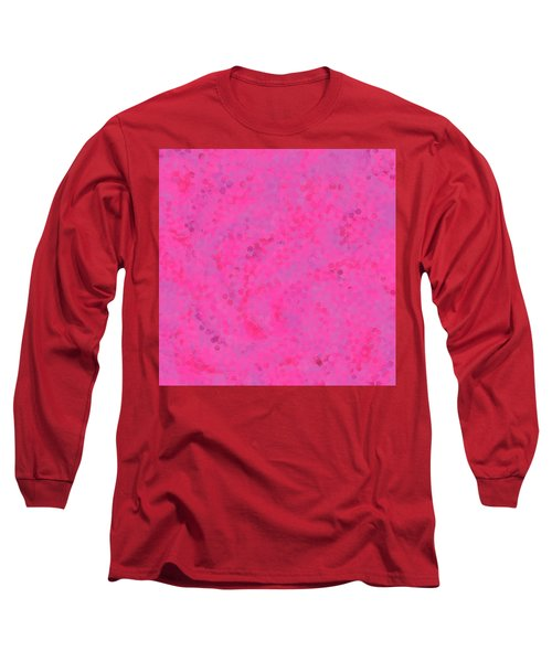 Long Sleeve T-Shirt featuring the mixed media Abstract Hot Pink And Lilac 4 by Clare Bambers