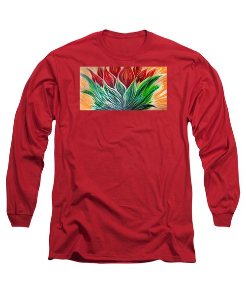 Abstract Lotus Long Sleeve T-Shirt