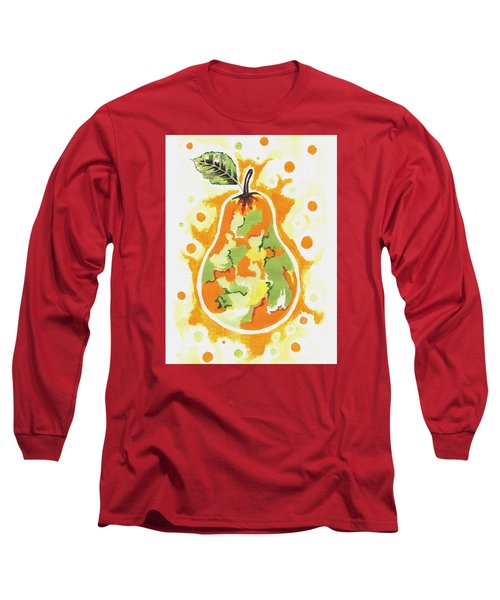 Long Sleeve T-Shirt featuring the painting Abstract Pear by Kathleen Sartoris
