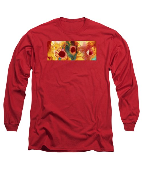 Abstract Red Flower Garden Panoramic Long Sleeve T-Shirt