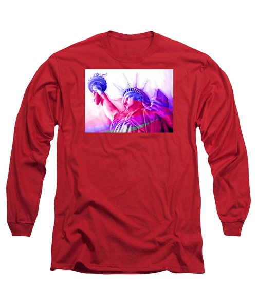 Long Sleeve T-Shirt featuring the painting Abstract Statue Of Liberty 7 by J- J- Espinoza