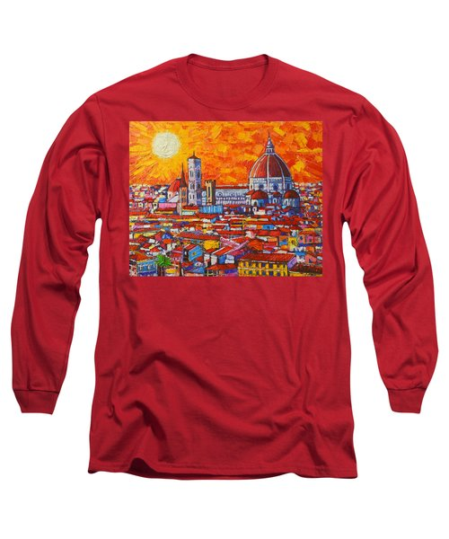Abstract Sunset Over Duomo In Florence Italy Long Sleeve T-Shirt by Ana Maria Edulescu