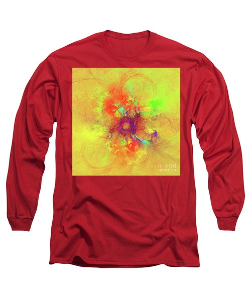 Long Sleeve T-Shirt featuring the digital art Abstract With Yellow by Deborah Benoit