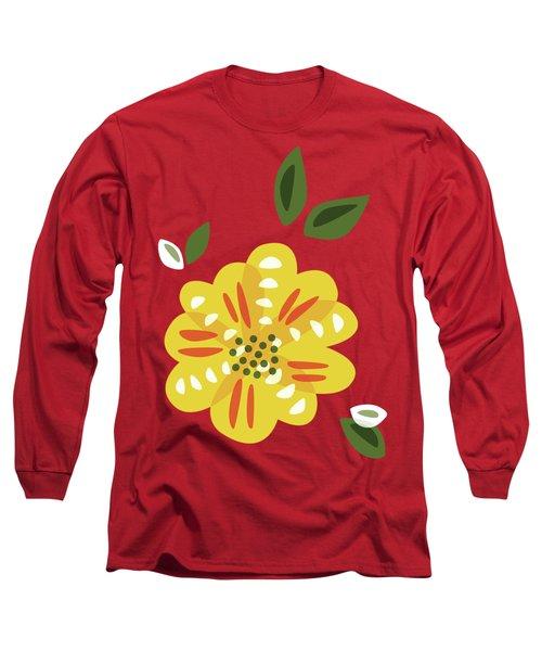 Abstract Yellow Primrose Flower Long Sleeve T-Shirt