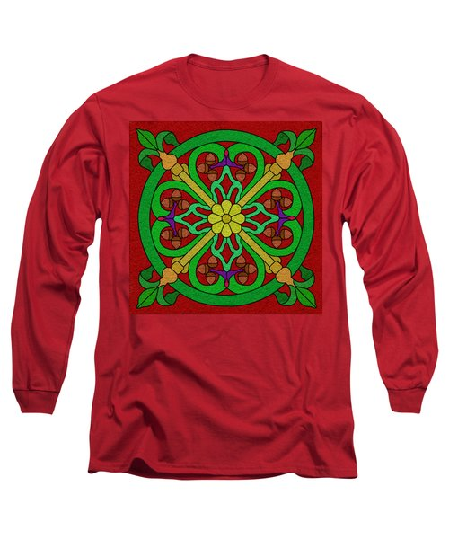 Acorns On Red Long Sleeve T-Shirt