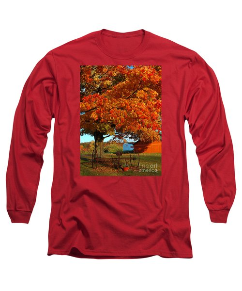 Long Sleeve T-Shirt featuring the photograph Adirondack Autumn Color by Diane E Berry