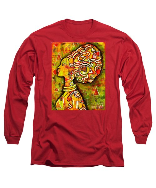 Long Sleeve T-Shirt featuring the painting African Queen by Julie Hoyle