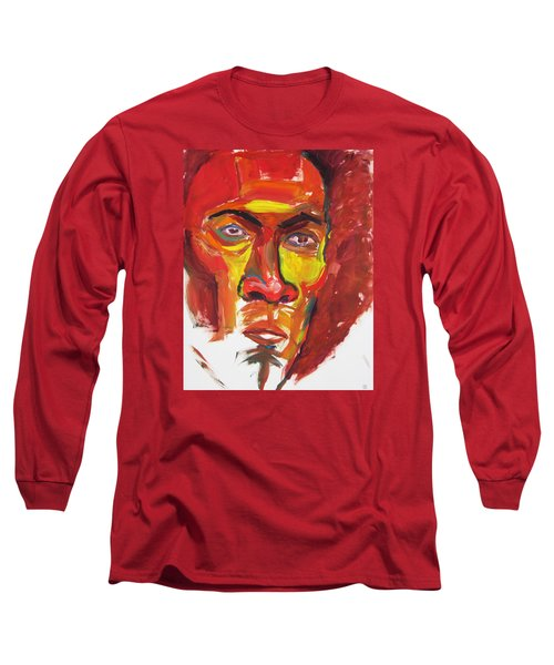 Long Sleeve T-Shirt featuring the painting Afro by Shungaboy X