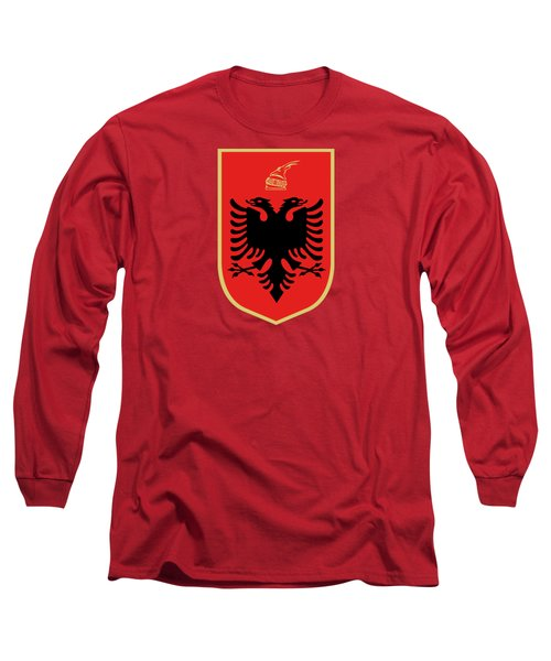 Long Sleeve T-Shirt featuring the drawing Albania Coat Of Arms by Movie Poster Prints