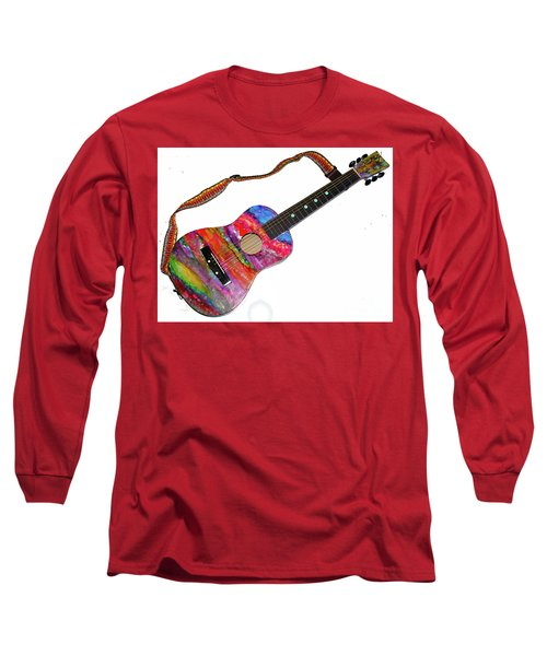 Alcohol Ink Guitar Long Sleeve T-Shirt by Alene Sirott-Cope
