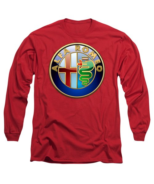 Alfa Romeo - 3d Badge On Red Long Sleeve T-Shirt by Serge Averbukh