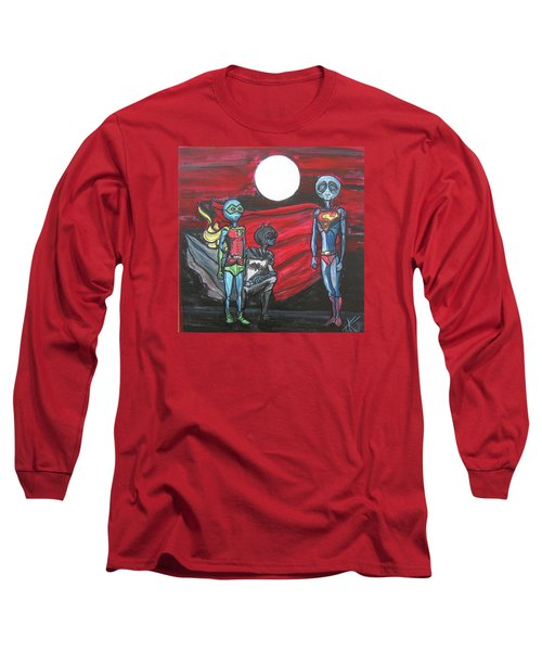 Long Sleeve T-Shirt featuring the painting Alien Superheros by Similar Alien