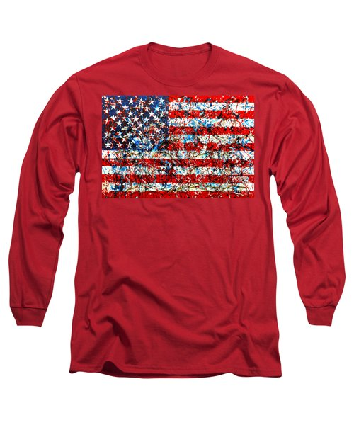 Long Sleeve T-Shirt featuring the painting American Flag Abstract With Trees by Genevieve Esson