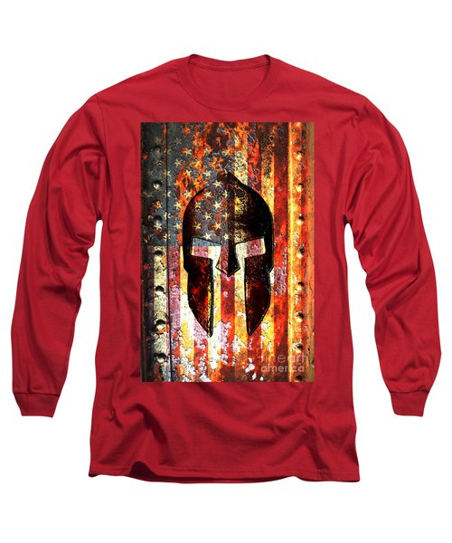 American Flag And Spartan Helmet On Rusted Metal Door - Molon Labe Long Sleeve T-Shirt